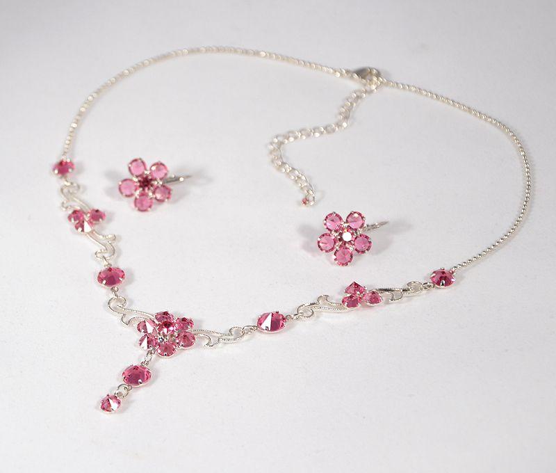 """""""Flamenco"""" kristály ékszergarnitúra - rózsaszín"""