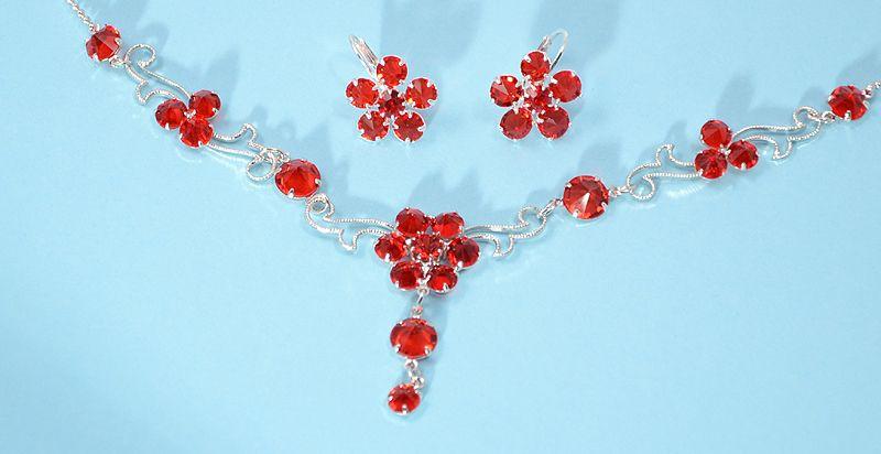 """""""Flamenco"""" kristály ékszergarnitúra - piros színű"""