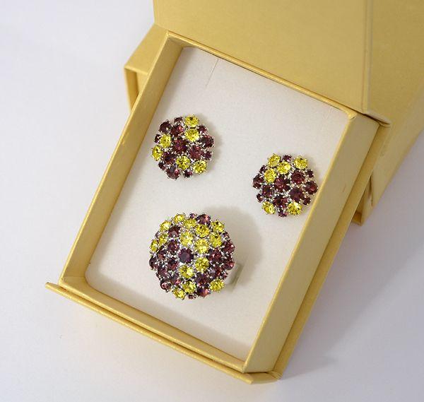 """""""Bouquet"""" kristály ékszergarnitúra díszdobozban - citrin és ametiszt"""