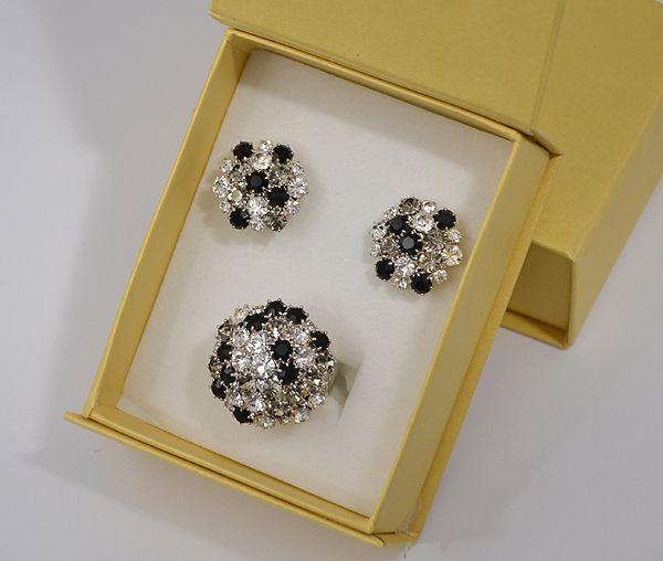 """""""Bouquet"""" kristály ékszergarnitúra díszdobozban - kristály és fekete"""