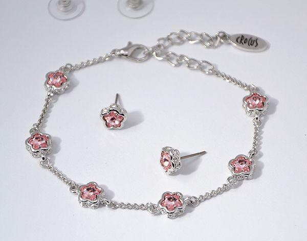 """""""Florella"""" kristály ékszergarnitúra - rózsaszín"""