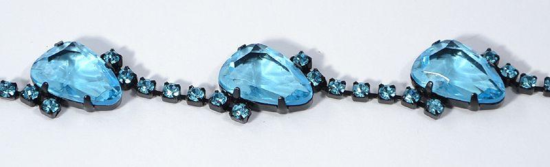 """Shiny stone"" karlánc - türkizkék 3 kővel"