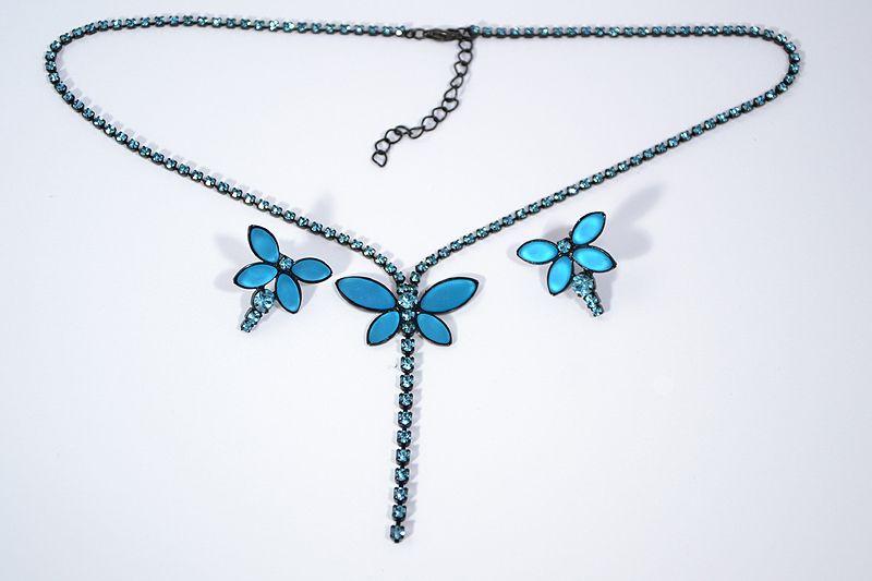 """""""Papillon"""" kristály ékszergarnitúra - matt türkizkék"""