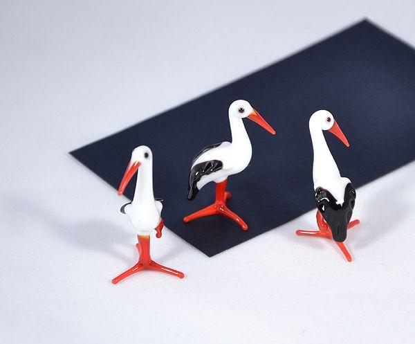 Fehér gólya - miniatűr üvegfigura