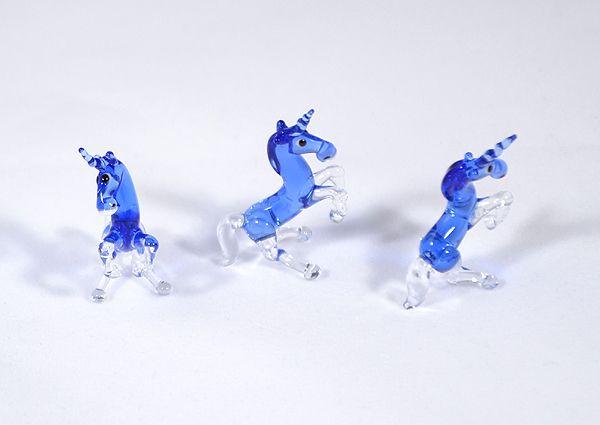 Egyszarvú - miniatűr üvegfigura, kék
