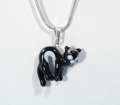 Fekete macska - miniatűr üvegmedál