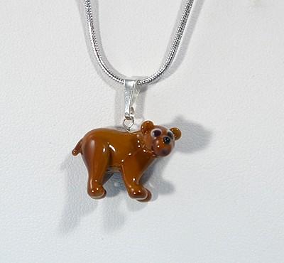Barna medve - miniatűr üvegmedál