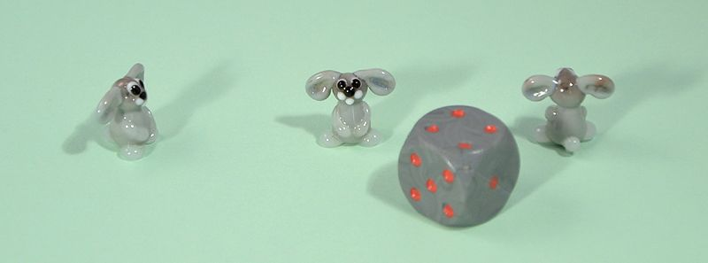 Nyúl - miniatűr üvegfigura, álló