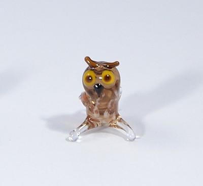 Bagoly - miniatűr üvegfigura