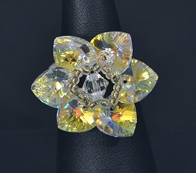 """""""Csillagvirág"""" gyűrű - kristály AB (Swarovski kristállyal)"""