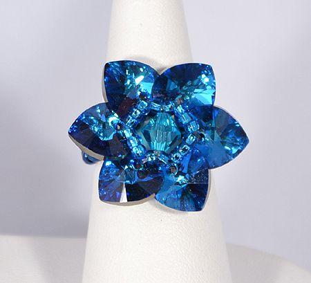 """""""Csillagvirág"""" gyűrű - bermuda blue (Swarovski kristállyal)"""