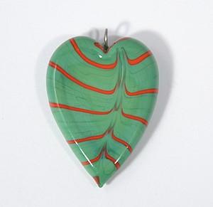 Valentin egyedi üveg medál - zöld és piros
