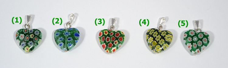 """Fioretto"" üvegmedál, többféle zöld"