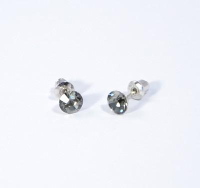 """Kristálypötty"" fülbevaló - black diamond (Swarovski kristállyal), 6 mm"