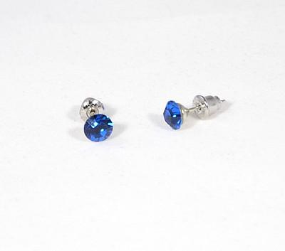 """Kristálypötty"" fülbevaló - capri blue, 6 mm (Swarovski kristállyal)"