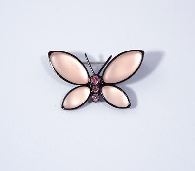 Lepke bross Preciosa kristályból - rózsaszín