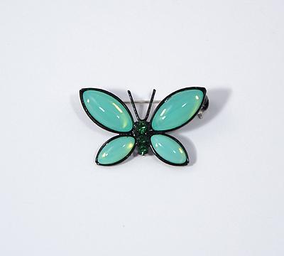 Lepke bross Preciosa kristályból - opál zöld