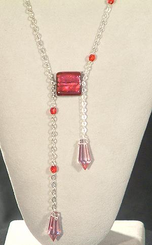 Kreatív nyaklánc - egyedi üveggyöngy és kristály
