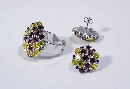 Bouquet gyűrű+fülbevaló ékszerszett - 7500 Ft
