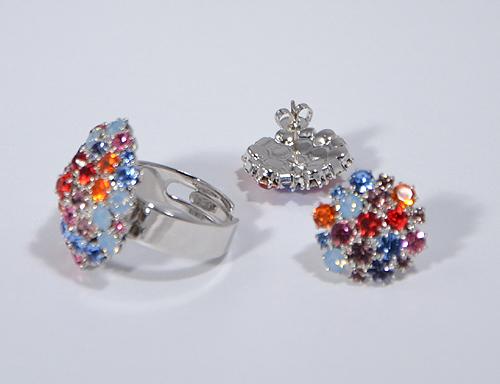 Gyűrű színes kristályokkal