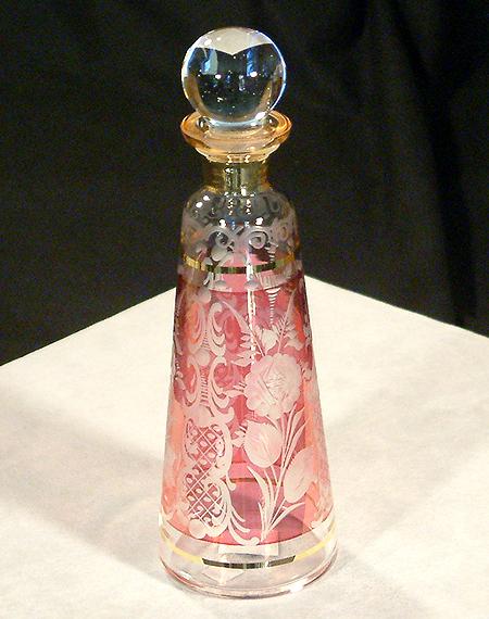 Parfümös üvegcse - ólomkristály, vörös