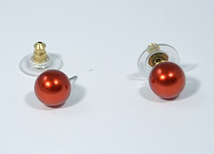 Gömböcske fülbevaló, piros - 1000 Ft