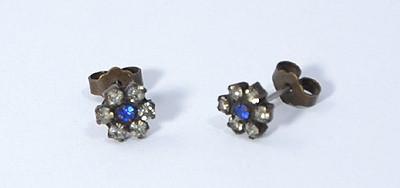Virágocska fülbevaló kék és kristály - 1000