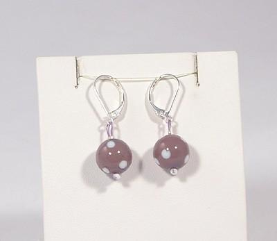 Pöttyös panna fülbevaló, rövid lila - 1500