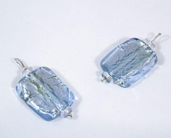 Ezüst csillám üvegmedál, kék - 1500 Ft