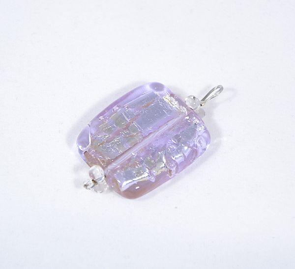Ezüst csillám üvegmedál, halványlila - 1500 Ft