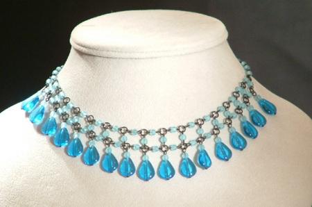 Vízesés nyaklánc, kék - 3750 Ft