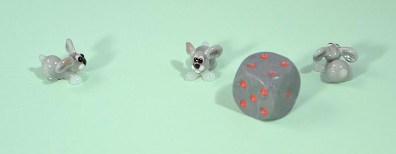 Nyúl miniatűr üvegfigura - 1000 Ft