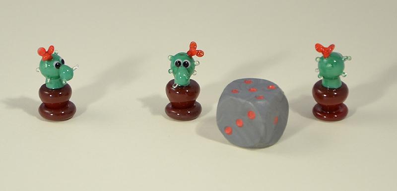 Virágzó kaktusz miniatűr üvegfigura - 1000 Ft