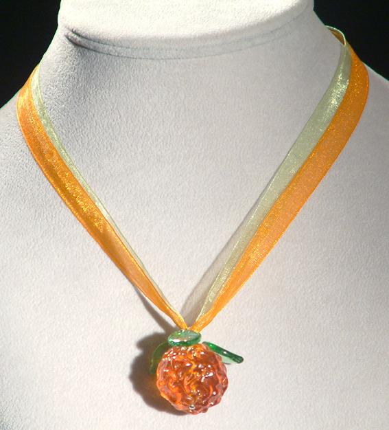 Narancs medál (egyedi üveg)  organza szalagon