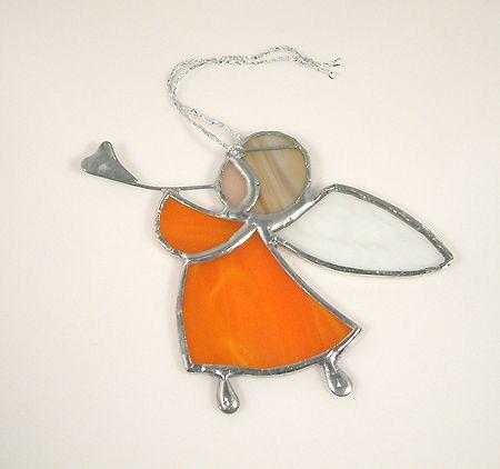 Harsonás angyalka függődísz - narancs