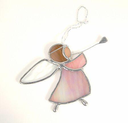Harsonás angyalka függődísz - íriszes rózsaszín