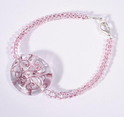 """""""Veretes"""" karlánc - kristály és rózsaszín"""