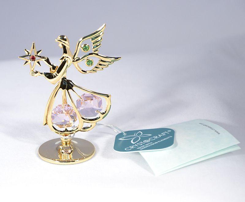 Angyalka figura Swarovski kristállyal - csillagos