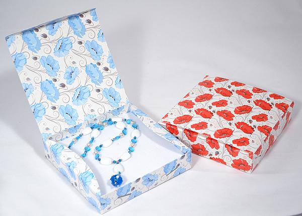 Pipacsos díszdoboz - kék
