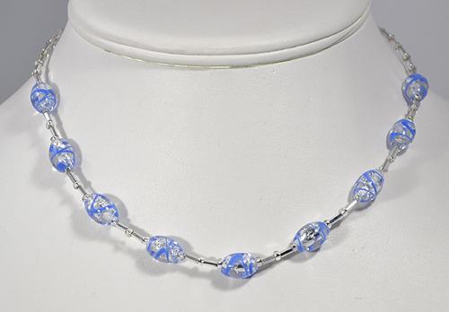 Ezüst cukorka nyaklánc - kék