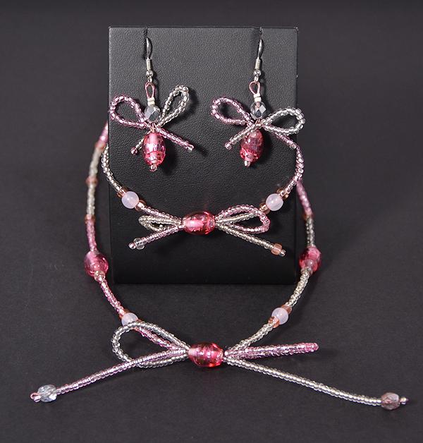 Ezüst cukorka garnitúra - rózsaszín