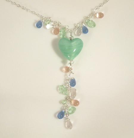 nyaklánc selyemfényű üvegmedállal - zöld