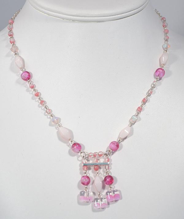 Amulett nyaklánc - rózsaszín