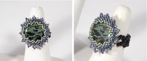 Ásvány gyűrű üveggyöngy csipkével
