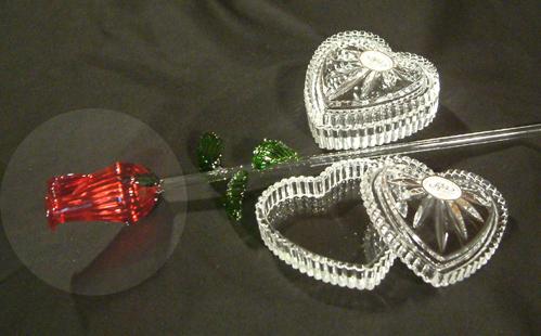 Szív alakú kristály szelence - Ajka kristály
