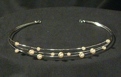 Hógolyó tiara - ekrü, pezsgő - 3400 Ft