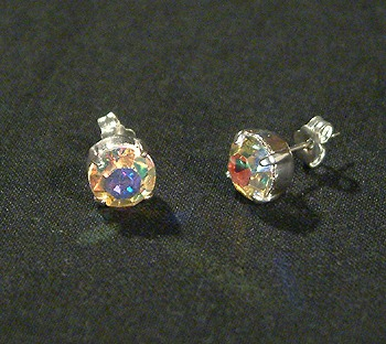 Pötty fülbevaló, kristály AB, 10 mm - 1500