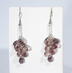 Üvegszőlő fülbevaló, lila - 1875