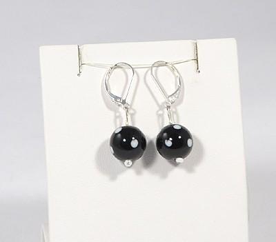 Pöttyös Panna fülbevaló, rövid fekete - 1500