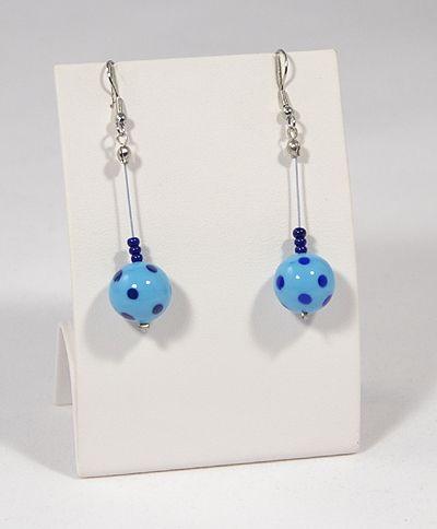 Pöttyös Panna fülbevaló, hosszú kék - 1500
